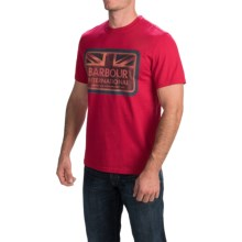 Barbour Printed Cotton T-Shirt - Short Sleeve (For Men) in Chilli Red, Antique - Closeouts