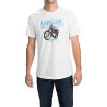 Barbour Printed Cotton T-Shirt - Short Sleeve (For Men) in Colorado Blue, Focus - Closeouts