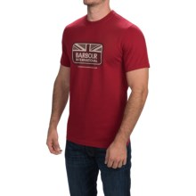 Barbour Printed Cotton T-Shirt - Short Sleeve (For Men) in Crimson, Half Jack - Closeouts
