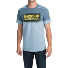 Barbour Printed Cotton T-Shirt - Short Sleeve (For Men) in Dark Chambra, Rake - Closeouts
