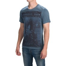 Barbour Printed Cotton T-Shirt - Short Sleeve (For Men) in Dark Chambra, Suit - Closeouts