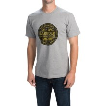 Barbour Printed Cotton T-Shirt - Short Sleeve (For Men) in Grey Marl, Archive Rider - Closeouts