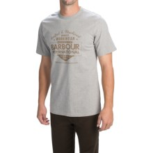 Barbour Printed Cotton T-Shirt - Short Sleeve (For Men) in Grey Marl, Crafted - Closeouts