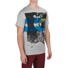 Barbour Printed Cotton T-Shirt - Short Sleeve (For Men) in Grey Marl, Track - Closeouts