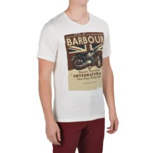 Barbour Printed Cotton T-Shirt - Short Sleeve (For Men) in Neutral, Track - Closeouts