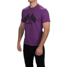 Barbour Printed Cotton T-Shirt - Short Sleeve (For Men) in Plum, Cross Flags - Closeouts