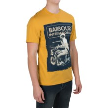 Barbour Printed Cotton T-Shirt - Short Sleeve (For Men) in Yellow/Navy, Smooth - Closeouts