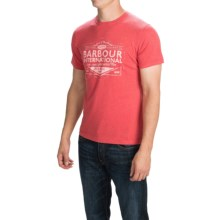 Barbour Printed Knit T-Shirt - Short Sleeve (For Men) in Pillar Box Red, Crafted - Closeouts