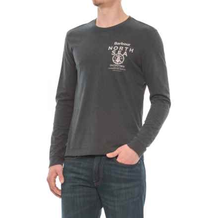 Barbour Printed T-Shirt - Long Sleeve (For Men) in Charcoal - Closeouts