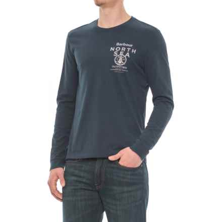 Barbour Printed T-Shirt - Long Sleeve (For Men) in Navy - Closeouts