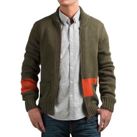 Barbour Pym Cardigan Sweater - Full Zip (For Men) in Dark Olive - Closeouts