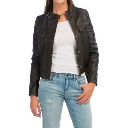 Barbour Racer Leather Moto Jacket - Crop Length (For Women) in Black/Navy - Closeouts