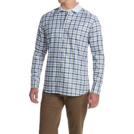 Barbour Raceway Cotton Shirt - Tailored Fit, Button Front, Long Sleeve (For Men) in Dark Stone Check - Closeouts