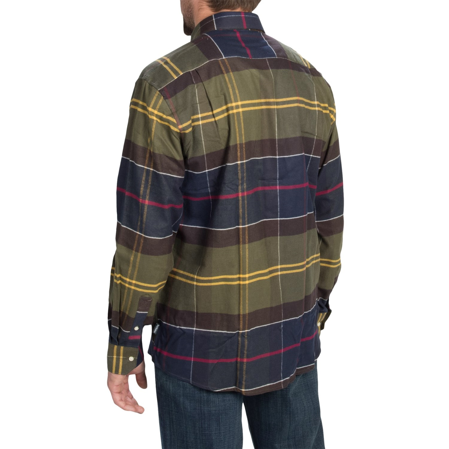 Barbour rannoch plaid flannel shirt for men 9808d save 84 for Flannel checked long sleeve shirt