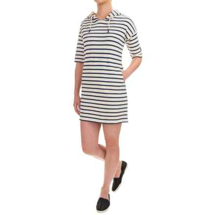Barbour Renishaw Hooded Sweatshirt Dress - Short Sleeve (For Women) in Ecru - Closeouts