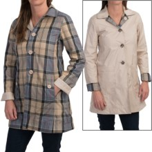 Barbour Reversible Tartan Derby Mac Trench Coat (For Women) in Dark Pearl R/Dress - Closeouts