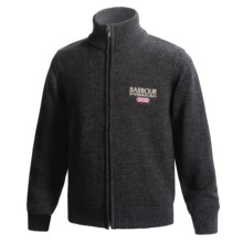 Barbour Rider Cardigan Sweater - Merino Wool (For Boys) in Charcoal - Closeouts
