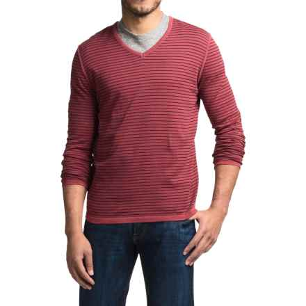 Barbour Rinsed Stripe Sweater - V-Neck (For Men) in Biking Red - Closeouts