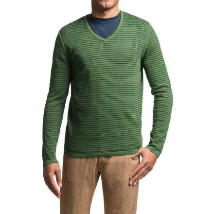 Barbour Rinsed Stripe Sweater - V-Neck (For Men) in Lawn - Closeouts