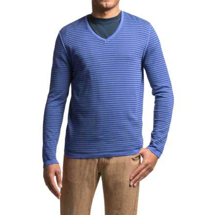 Barbour Rinsed Stripe Sweater - V-Neck (For Men) in Marine - Closeouts