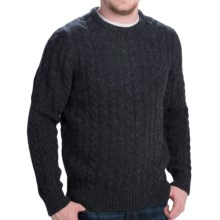 Barbour Rope Cable-Knit Shetland Wool Sweater (For Men) in Charcoal - Closeouts