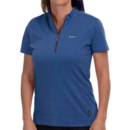 Barbour Saddle Polo Shirt - Zip Neck, Short Sleeve (For Women) in Indigo - Closeouts