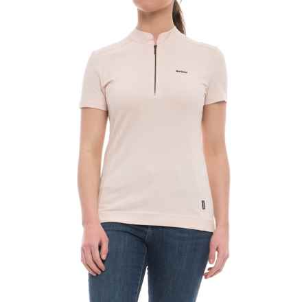 Barbour Saddle Polo Shirt - Zip Neck, Short Sleeve (For Women) in Pink - Closeouts