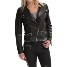 Barbour Shadow Mid Leather Jacket (For Women) in Black - Closeouts