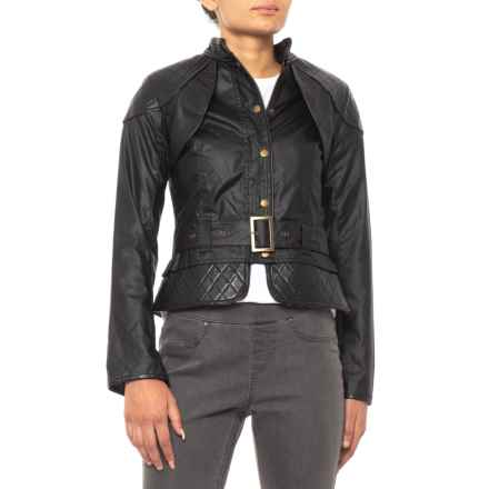 Barbour Somerset Jacket - Waxed Cotton, Leather (For Women) in Black - Closeouts