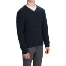 Barbour Stark Cable-Knit Sweater - Wool Blend, V-Neck (For Men) in Navy - Closeouts