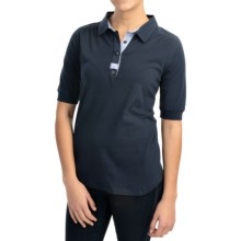 Barbour Stretch Cotton Polo Shirt - Short Sleeve (For Women) in Navy, Fulling - Closeouts