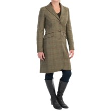 Barbour Swaledale Covert Long Coat - Wool Tweed (For Women) in Olive Plaid - Closeouts