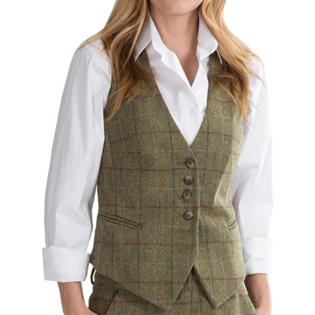 Swaledale tailored 6 button vest wool tweed for women save 53