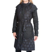 Barbour Swiftsure Classic Trench Coat - Waxed Cotton (For Women) in Navy Snow Spot - Closeouts