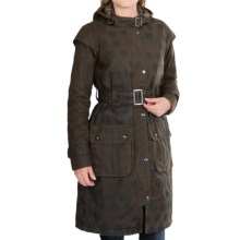 Barbour Swiftsure Classic Trench Coat - Waxed Cotton (For Women) in Olive Snow Spot - Closeouts