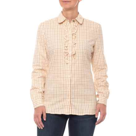 Barbour Tack Ruffled Flannel Shirt - Long Sleeve (For Women) in Crimson - Closeouts