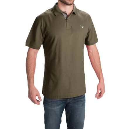 Barbour Tartan Cotton Pique Polo Shirt - Short Sleeve (For Men) in Dark Olive - Closeouts