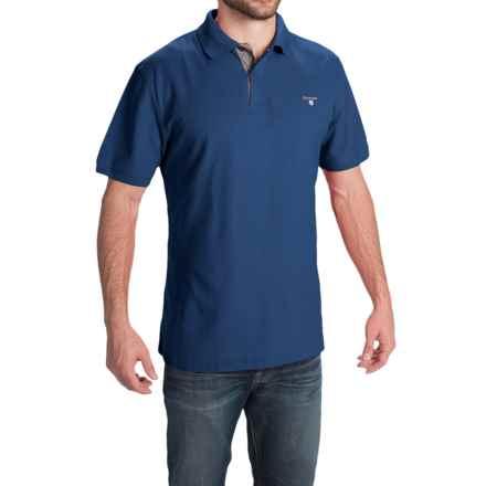 Barbour Tartan Cotton Pique Polo Shirt - Short Sleeve (For Men) in Deep Blue - Closeouts