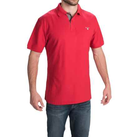 Barbour Tartan Cotton Pique Polo Shirt - Short Sleeve (For Men) in Red/Dress - Closeouts