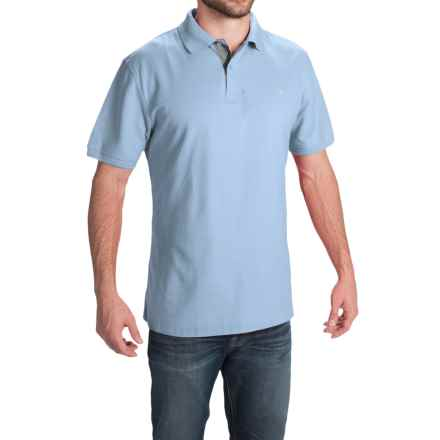 Barbour Tartan Cotton Pique Polo Shirt - Short Sleeve (For Men) in Sky/Dress - Closeouts