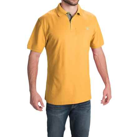 Barbour Tartan Cotton Pique Polo Shirt - Short Sleeve (For Men) in Yellow - Closeouts
