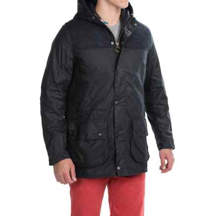 Barbour Tweed Durham Waxed-Cotton Jacket - Insulated in Navy - Closeouts