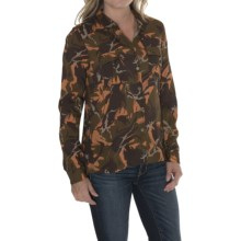 Barbour Two-Pocket Cotton Shirt - Button Front, Long Sleeve (For Women) in Brown/Orange Camo, Foreland - Closeouts