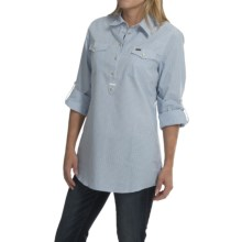 Barbour Two-Pocket Cotton Shirt - Button Front, Long Sleeve (For Women) in Mid Chambray Check, Team - Closeouts