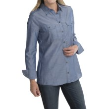 Barbour Two-Pocket Cotton Shirt - Button Front, Long Sleeve (For Women) in Naval Blue, Port - Closeouts