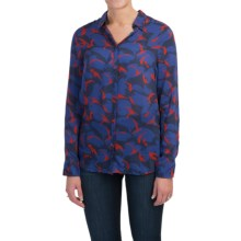 Barbour Viscose Shirt - Long Sleeve (For Women) in Navy Camo, Garison, Slim Fit - Closeouts