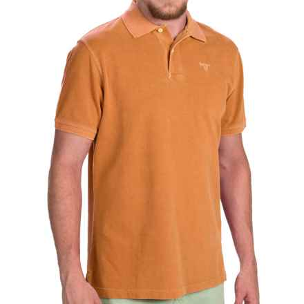 Barbour Washed Sports Polo Shirt - Short Sleeve (For Men) in Acid Orange - Closeouts