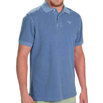 Barbour Washed Sports Polo Shirt - Short Sleeve (For Men) in Marine Blue - Closeouts