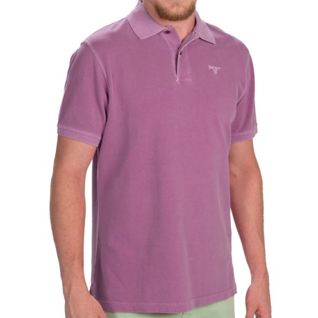 Barbour Washed Sports Polo Shirt - Short Sleeve (For Men) in Plum