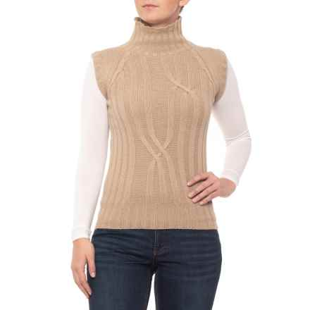 Barbour Wold Chunky Knit Sweater - Funnel Neck, Sleeveless (For Women) in Beige - Closeouts
